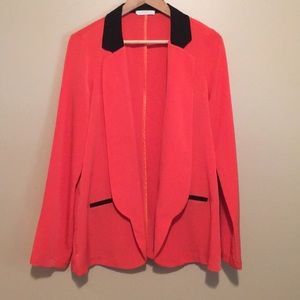 Lush orange and black blazer. L